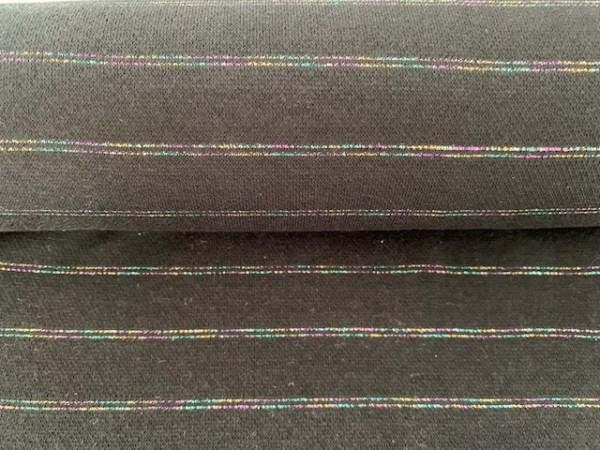 Jaquard Bündchen Multicolor Streifen Grau