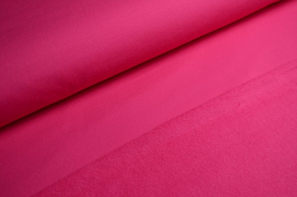 French Terry Aufgeraut Uni Pink