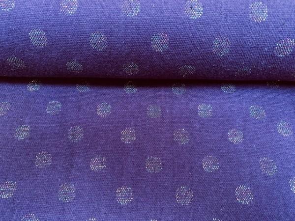 Jaquard Bündchen Multicolor Punkte Lila