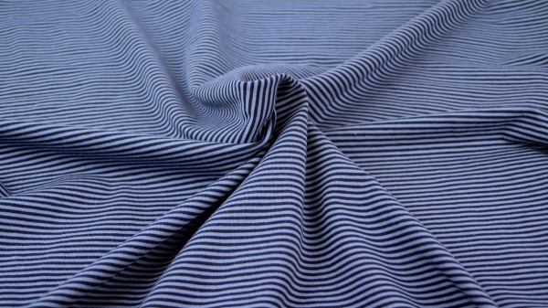 Jersey Streifen garngefärbt Blau