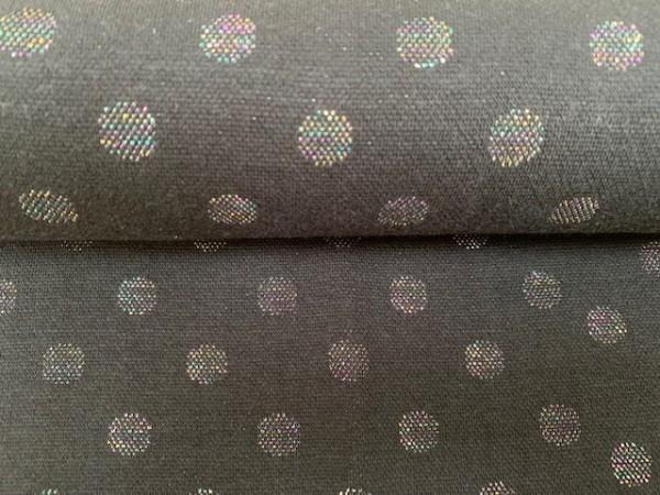 Jaquard Bündchen Multicolor Punkte Grau