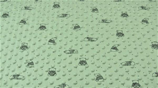 Minki Fleece Bär Altgrün