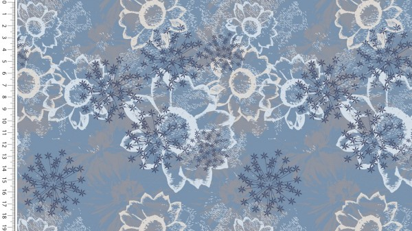French Terry Flower Jeansblau